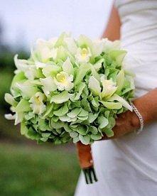 Bukiet ślubny zielony.