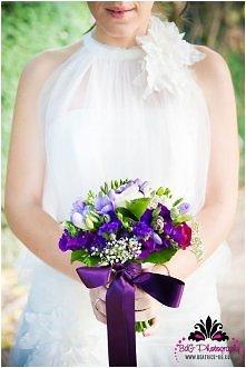 Wiązanka ślubna fioletowa.