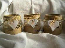 świeczniki ze słoików i sznurka