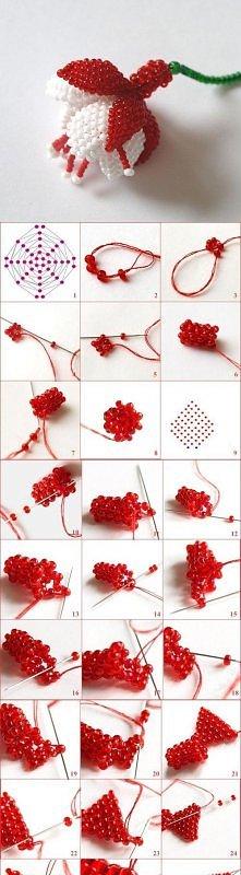 kwiat fuksji z koralików