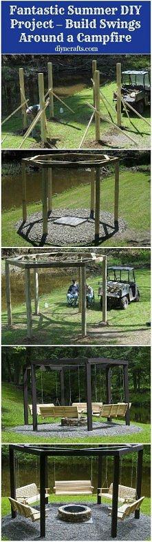 Genialny pomysł - huśtawki wokół ogniska! <3