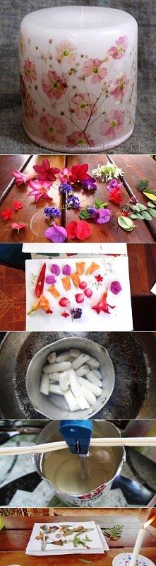 diy, flower, candle