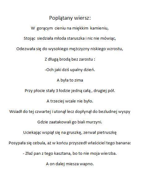 Poplątany Wiersz Na Cytaty Zszywkapl