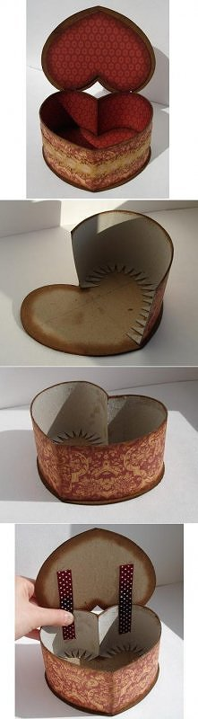 diy, cardboard, heart, shaped, box