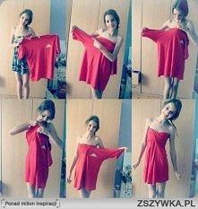 Fajny pomysł na sukienkę ze starek koszulki :)