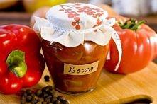 Leczo pasteryzowane Składniki: 1 kg pomidorów 1/2 kg papryki czerwonej ok. 30...
