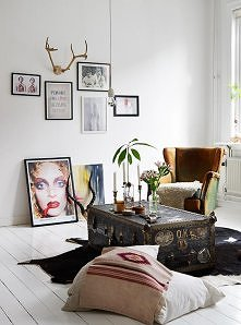 styl skandynawski, fotel, skrzynia,