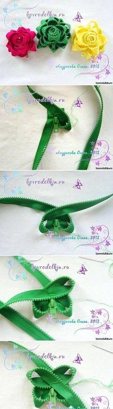 diy, simple, zipper, flower, brooch