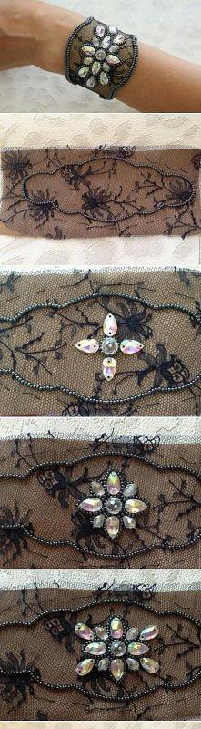 diy, lace, beads, bracelet