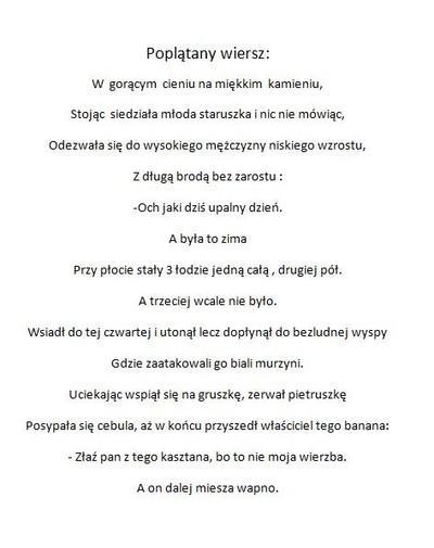 Poplątany Wierszyk P Na Ulubione 333 Zszywkapl