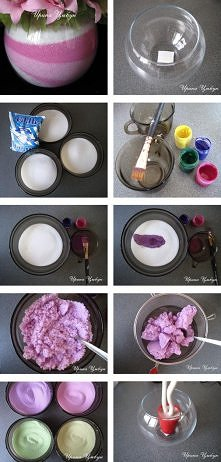 Wazon z kolorową solą: Można malować gwaszem lub akwarelą. Rozcieńczyć farbę ...