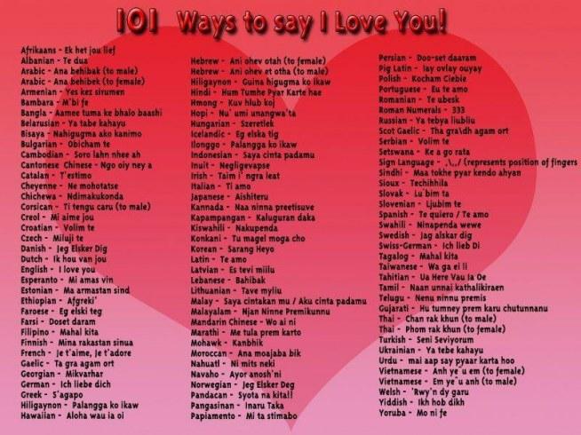 Kocham Cię - w wielu językach :)