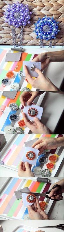 diy, bead, flower, brooch, tutorial