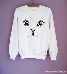 bluza ręcznie malowana kot ...