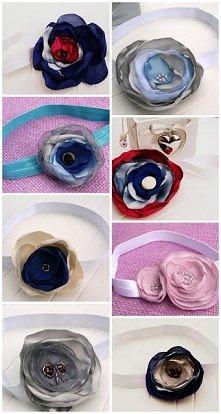 Opaski do włosów z duzymi kwiatami dla dzieci