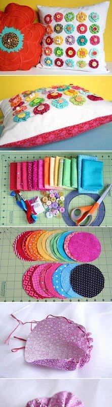 diy, fabric, flower, pillow...