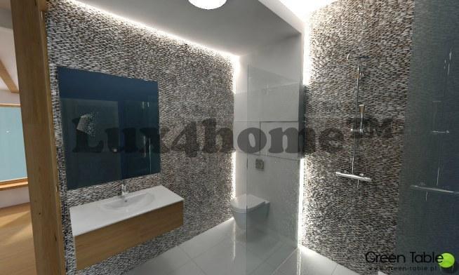 Wyjątkowo klimatyczna łazienka dzięki otoczaki 3D Maluku Tan od Lux4home™