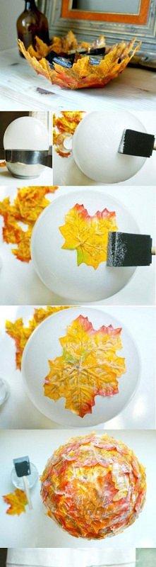 miseczka DIY z liścia. zrób to sama, albo razem ze swoim bobasem =)