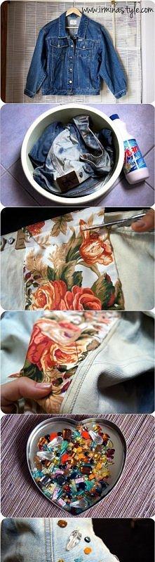 jeansowa kurtka z gadżetami