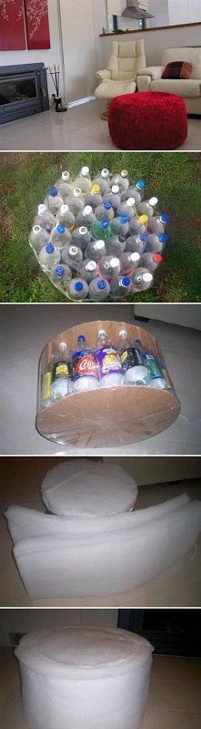diy, plastic, bottle, ottoman, tutorial