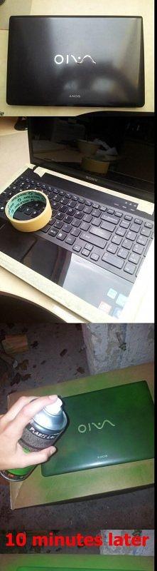 How to fix your laptop!  -obklejamy taśmą miejsca które mają zostać niepomalowane -nakładamy kilka cienkich warstw sprayu -po wyschnięciu sciągamy taśmę i elementy dekoracyjne  ...