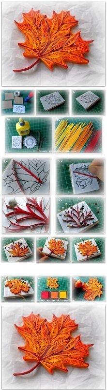 .Diy  - Quilled Maple Leaf.