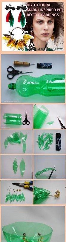 diy tutorial kolczyki z plastikowej butelki :)