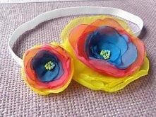 Opaska z tęczowym kwiatkiem z woalu dla dzieci i niemowląt.