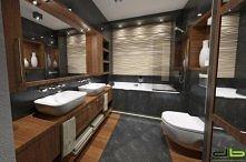 Łazienka szara z drewnem