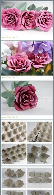 Paper art - making rose using an eggbox panel