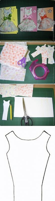 diy, paper, dress, card top...