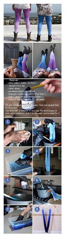 Potrzebne:  Białe leginsy Barwnik (zależy jaki kolor chcecie to tam sami wybierzcie) Rękawice gumowe Koncentrat barwnika Naczynie z wodą Duża łyżka (do mieszania) Wykonanie (prz...