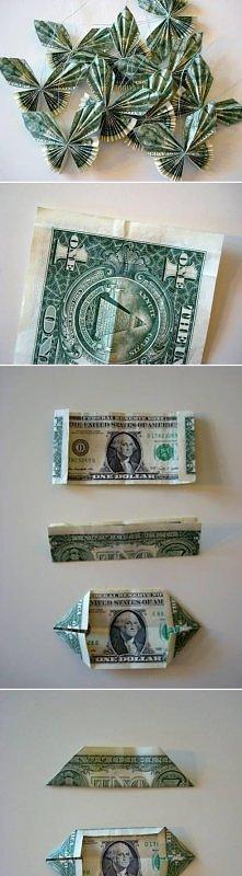 diy motylki, zamiast dolaró...