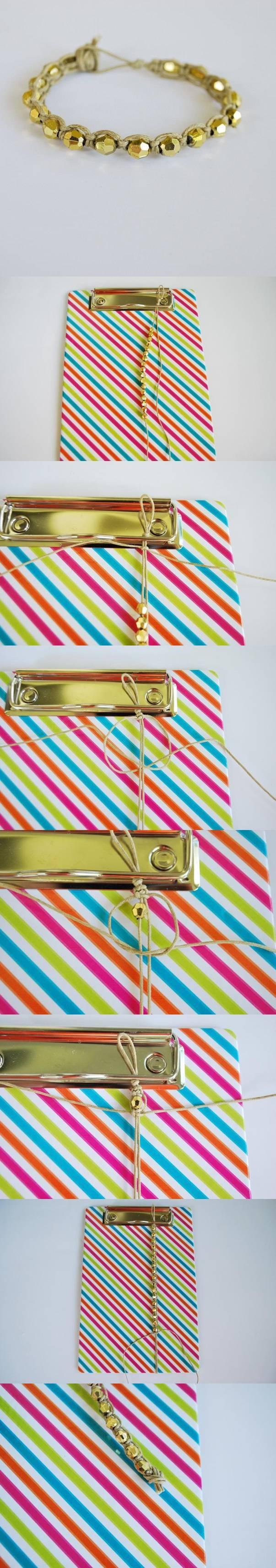 diy, gold, beads, wristband, tutorial
