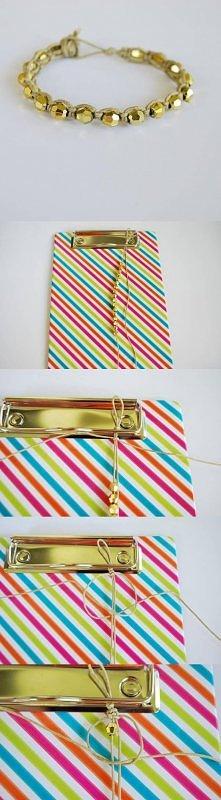 diy, gold, beads, wristband...