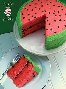 Watermelon milk cake   Składniki: Na biszkopt: 3 jajka pół szklanki mąki psze...
