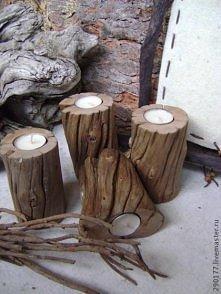 świeczniki drewno