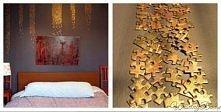 śliczna dekoracja pustej ściany pozłacanymi starymi puzzlami...:D