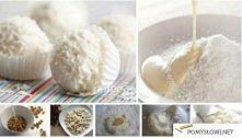 Domowe rafaello :D   Składniki:  100 g wiórków kokosowych do obtoczenia przyg...
