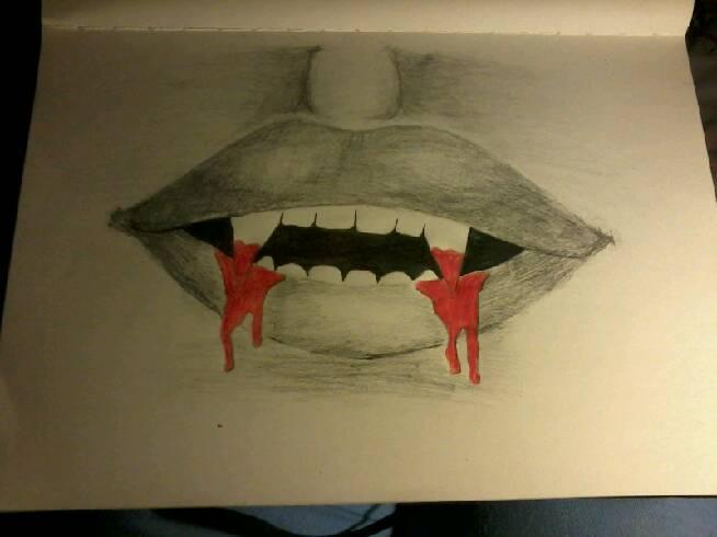 Rysunek Usta Kły Wampira Na Moje Rysunki Zszywka Pl