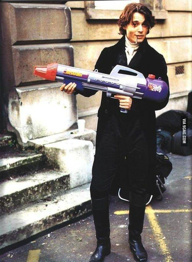 You may be cool, but never Johnny Depp holding a super-soaker cool.