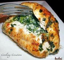Przepis na piersi z kurczaka ze szpinakiem i mozzarellą.  Szpinak podsmaż z c...