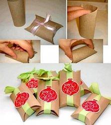 opakowanie na prezencik z rolki po papierze ;)