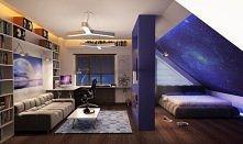 piękny pokój w stylu galaxy