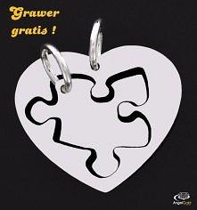 Ciekawe komu podarujesz swoje serce?:) DWIE ZAWIESZKI ZE SREBRA 925 NA OBU GRAWER GRATIS!!! PUZZEL I SERCE
