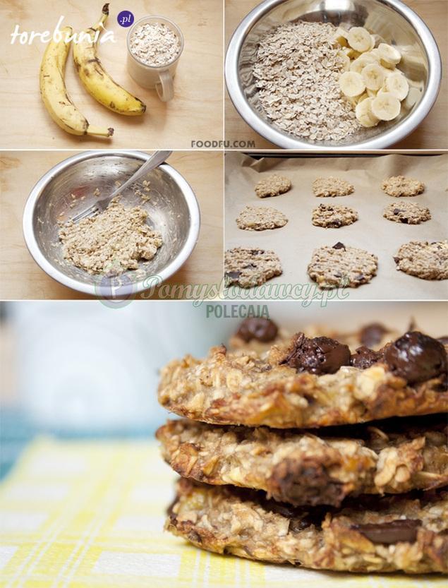 Płatki owsiane wymieszaj z ugniecionymi bananami. Uformuj niewielkie ciasteczka i wstaw do piekarnika na 15 minut do temperatury 180 stopni. PYCHOTA!!!