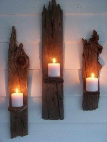 Świeczki i drewno