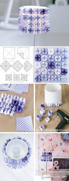 Abażur origami  Materiały:  Abażur Kolorowe kartki Nożyczki Klej na gorąco  Przygotowujemy kwadraty z papieru i składamy wg instrukcji na zdjęciu. Każdy papierowy element przykl...