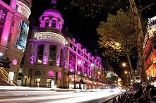 Pink Christmas lights in Paris