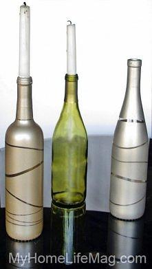 nałóż gumki recepturki a potem pomaluj butelke :)